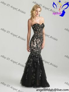 2013 Sexy Black Mermaid Prom Ball Wedding dress Bridal party evening gown Formal