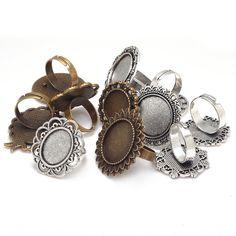 Mezclado Bases del anillo ajustable Blanks Cabochon Rings ajustes antiguo Metal de aleación de Zinc de la joyería anillo ( 11 unids/lote ) 8054…