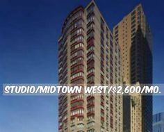 Studio apt for rent in Midtown West at $2,600/mo.Doorman, Elevator, Health Club, Garage,New Construction, Laundry, Bicycle Room, Valet, Roof Deck, WiFi. Contact us for details.Web ID:45067. #NYCApartments #MovingToNYC #NYCrentals #ApartmentHunting #Moving #NYC #NoFeeApt