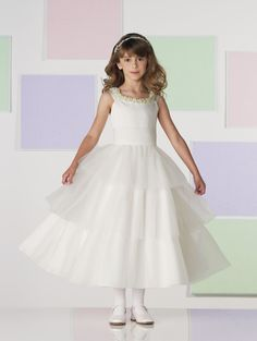 Satin and Tulle Ruched Tulle Waistband Bodice Tea-length A-line Flower Girl Dress