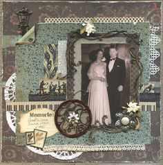 Lovely Vintage Layout Together By: JillyM Heritage Scrapbook Pages, Vintage Scrapbook, Wedding Scrapbook, Scrapbook Page Layouts, Scrapbook Albums, Scrapbook Cards, Scrapbooking Ideas, Scrapbook Templates, Shabby