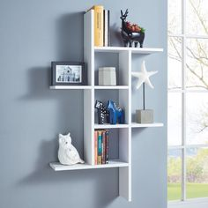 This DANYA B Cantilever White MDF Floating Wall Shelf is perfect for holding daily essentials and displaying decorative accents. Cube Shelves, Floating Wall Shelves, White Shelves, Display Shelves, Cube Wall Shelf, Decorative Wall Shelves, Ladder Display, Open Shelves, Decorative Accents