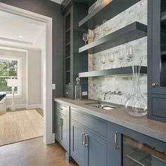 Gray Butler Pantry with Concrete Countertops - Transitional - Kitchen Best Kitchen Cabinet Paint, Best Kitchen Cabinets, Painting Kitchen Cabinets, Glass Front Cabinets, Grey Cabinets, Concrete Countertops, Kitchen Countertops, Granite, Glass Shelving Unit