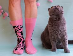 Do you like our Pink Cat Mismatched, Happy Socks, Cheerful Socks, Sokken The Ultimate Gift, Pink Cat, Happy Socks, All About Eyes, Good Mood, Dog Cat, Two By Two, Bring It On, Cats