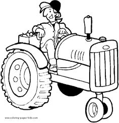 farmer on a tractor color page