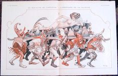 "This a vintage 1926 Art Deco French centerfold print from the erotic French magazine La Vie Parisienne. Titled Au Royaume de Carnaval - L'Ordinaire de sa Majeste. This is a quality internal color centerfold illustration with images or text on the reverse. Illustrated by Cheri Herouard. SIZE: Approx. 21"" x 13 1/2""."