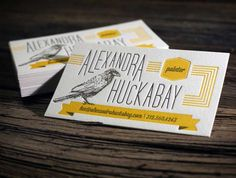 letterpress yellow business card