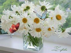 DIY Painting By Numbers Modern Flower Wall Art – diyartgallery Gifs Disney, Vase Transparent, Vase Design, Daisy Love, Wooden Vase, Vase Arrangements, Vase Shapes, Butterfly Flowers, Butterflies