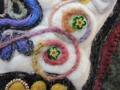 Needle Felting Ideas and Techniques Arts to Crafts- yarns and roving needle felted on to other wool ( pillow in this pix)