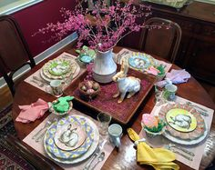 HYACINTHS FOR THE SOUL - spring/ Easter tablescape with varied pastel napkins and plate patterns