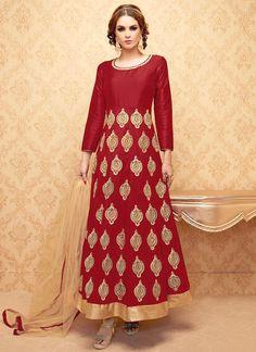 Floral Red Anarkali Salwar Suit