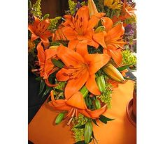 Cascading orange Asiatic Lily bouquet with my favorite accent color -- lime green!