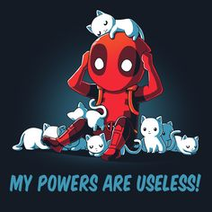 Deadpool's drowning in...kittens! Your cuteness sense will be tingling in this navy 100% cotton tee with a high-quality screen printed design. Get yours in stan