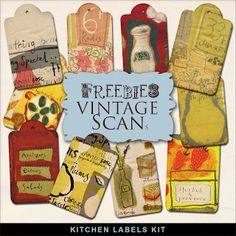 Far Far Hill - Free database of digital illustrations and papers: Freebies Kit of Kitchen Labels