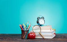 Download wallpapers Back to school, education, school, school supplies, notebooks, pencils, pens
