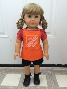 """Amy at DenimRose made this wonderful Home Depot apron for her crafty American Girl®️️️ doll using Lee & Pearl Pattern #1033: Bonjour, Paris Mini Wardrobe for 18"""" Dolls. This pattern, which also includes an adorable pair of cuffed- or uncuffed shorts, a pleated top and a tunic dress, is available in the Lee & Pearl Etsy store at https://www.etsy.com/listing/267357348/lp-1033-bonjour-paris-wardrobe-pattern"""