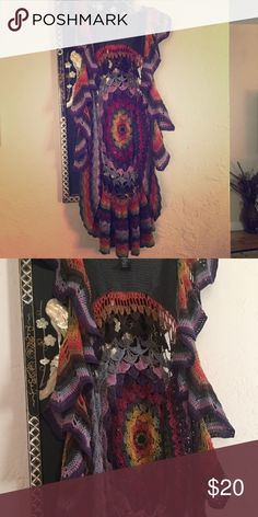 Crocheted cover up Long multicolored knit cover up Forever 21 Other