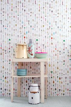 Cute spoon and skeleton key wallpaper! Fun for a kitchen accent wall.