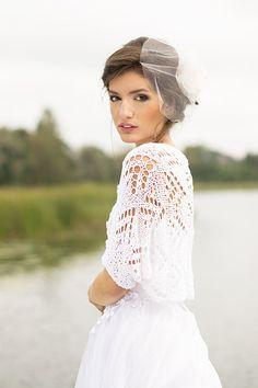 Wedding Shrug White Bamboo Cover Up Knitted Bolero by BVLifeStyle