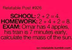 School vs. homework vs. exam