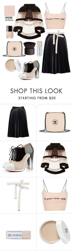 """""""Pantone: Pale Dogwood"""" by egchee ❤ liked on Polyvore featuring Cusp by Neiman Marcus, Chanel, Christian Louboutin, Delpozo, Marni and NARS Cosmetics"""