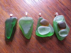 Green,brown and clear sea glass