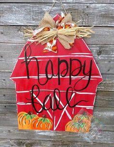Pumpkin Door Hanger Fall Barn Fall Door Hanger Fall Yall Happy Fall