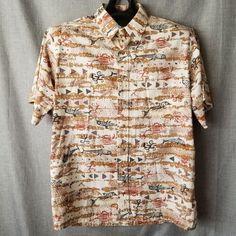 44a51fe52 Kahala Mens Hawaiian Shirt XL Brown Reverse Print Petroglyph Fish Crab Aloha  #Kahala #ButtonFront