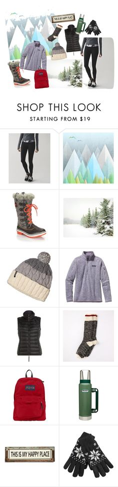 """""""Snow Day"""" by atinkley on Polyvore featuring Monde Mosaic, SOREL, Pottery Barn, Patagonia, Parajumpers, JanSport, Stanley Furniture, Poncho & Goldstein, women's clothing and women"""