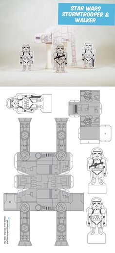 Create your own cute Stormtroopers and Walkers. DIY Paper Craft.