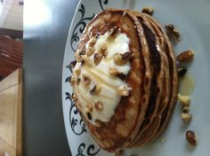 Cookie & Cream Protein Pancakes topped with Low-fat Greek Yogurt, Walnuts and drizzled with Honey.  (Just add 1 scoop of your fav Protein powder flavor - I also added Cinnamon & Vanilla using Whole Wheat Pancake Mix by Bob's Red Mill).