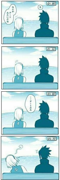 Sasusaku's first date Sakura: it's like a date, isn't it? Sasuke: ....it is a date Sakura: *faints*