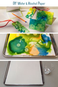 Water & Alcohol Paper DIY. Experiment with water and rubbing alcohol to create beautiful paper with interesting patterns and textures! This project is a fun way to explore different mediums that are e