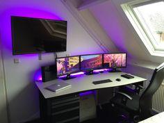 Hackintosh Desktop Setup-Triple Monitor-PS4-40 inch LED TV-MacBook-iPad mini-Self Built Mackintosh-Led Lighthing-Huge Printer under Desk