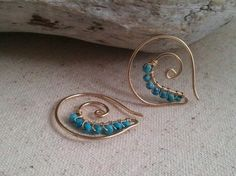 14kt Gold Filled Spiral Earrings  Turquoise by cristysjewelry, $59.00