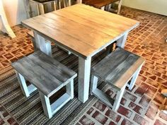 Square Farmhouse Table, Rustic Farmhouse Table, Dining Set with Stools, Table with Small Benches, White Wash With Glossy Top Square Farmhouse Table Rustic Farmhouse Table Dining Set image 2 Small Square Dining Table, Square Kitchen Tables, Kitchen Table Bench, Farmhouse Table With Bench, Kitchen Table Makeover, Farmhouse Kitchen Tables, Diy Dining Table, Square Tables, Dining Sets