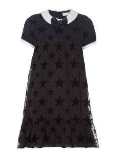 Flocked-stars contrast-collar babydoll dress | Saint Laurent | MATCHESFASHION.COM