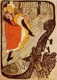 Jane Avril. Artist: Henri de Toulouse-Lautrec  Completion Date: 1893  Style: Art Nouveau (Modern)  Genre: poster