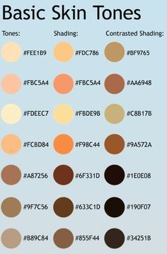 Skin Tone List by CelProjects on DeviantArt ★ || CHARACTER DESIGN REFERENCES…