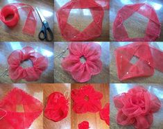 Ribbon flower (Step-by-Step)Organza flowers by own hands Ribbon Art, Diy Ribbon, Fabric Ribbon, Ribbon Crafts, Flower Crafts, Organza Ribbon, Ribbon Rose, Organza Flowers, Paper Flowers Diy