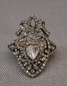 Ring possibly by C.S., Paris France 19th century gold, silver diamonds