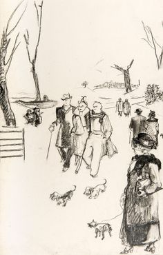 Charcoal on Paper Woodblock Print, This Is Us, Charcoal, Walking, Japanese, Park, Drawings, Prints, German