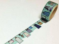 Laundry - Round Top Yano Design, Debut Series Natural - Japanese Die Cut Washi Paper Masking Tape - Kawaii Collage, Gift Wrapping - JapanLovelyCrafts