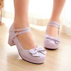 Womens-Sweet-Lolita-Bowknot-Round-Toe-Mary-Jane-Chunky-Block-Heels-Shoes-Size