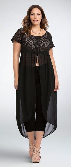 BLUSA LARGA Y PANTALON  Plus Size Lace Chiffon Maxi Top
