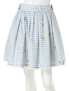 ギンガムマーガレットリーススカート