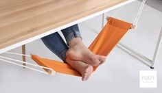 Clever Mini Hammock Hangs Under Desk, Props Up Your Feet As You Work - DesignTAXI.com. Need this in my life.