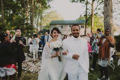 Bride Groom Bridal portraits. Backyard ceremony. Lauren + AJ Backyard Indie Bohemian Long Island DIY Wedding. Dress and veil: Lindsey Thornburg. Shoes: Raphaella Booz. Photographer: Chellise Michael Photography in Brooklyn, NYC