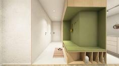 Návrh predsiene - interiér Slnečnice, Bratislava - Interiérový dizajn / Hall interior by Archilab Bratislava, Alcove, Entrance, Bathtub, Bathroom, Standing Bath, Washroom, Entryway, Bathtubs