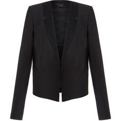 Theory Nabiel Black Virgin Wool-Blend Contemporary Blazer (3.495 ARS) ❤ liked on Polyvore featuring outerwear, jackets, blazers, black, straight jacket, cropped blazer, theory jacket, cropped jacket and asymmetrical blazer